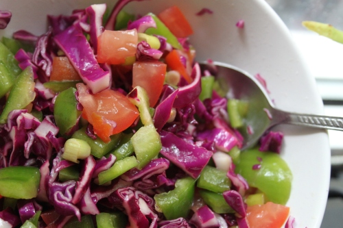 red cabbage and pepper slaw