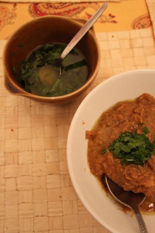 lentil soup with olive oil drizzle