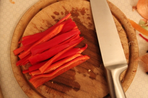 sliced Hungarian peppers