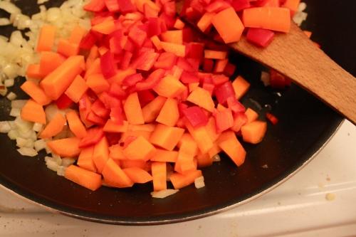 the beginnings of lentil stew